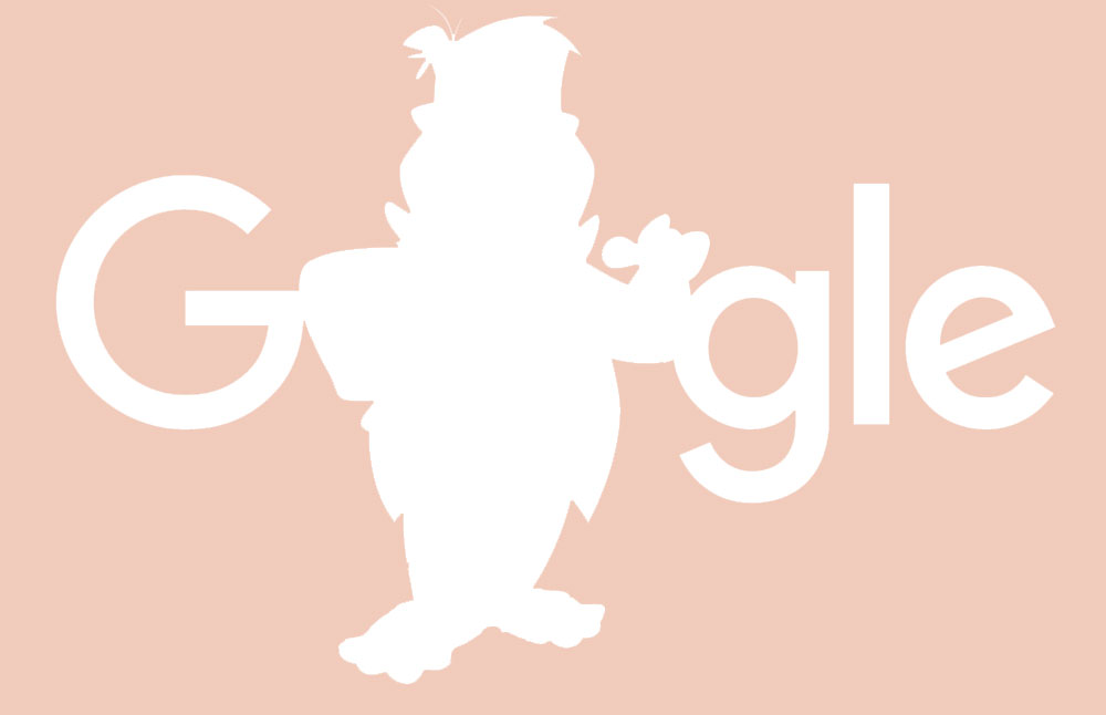 Google logo with Fred Flintstone on Pink background