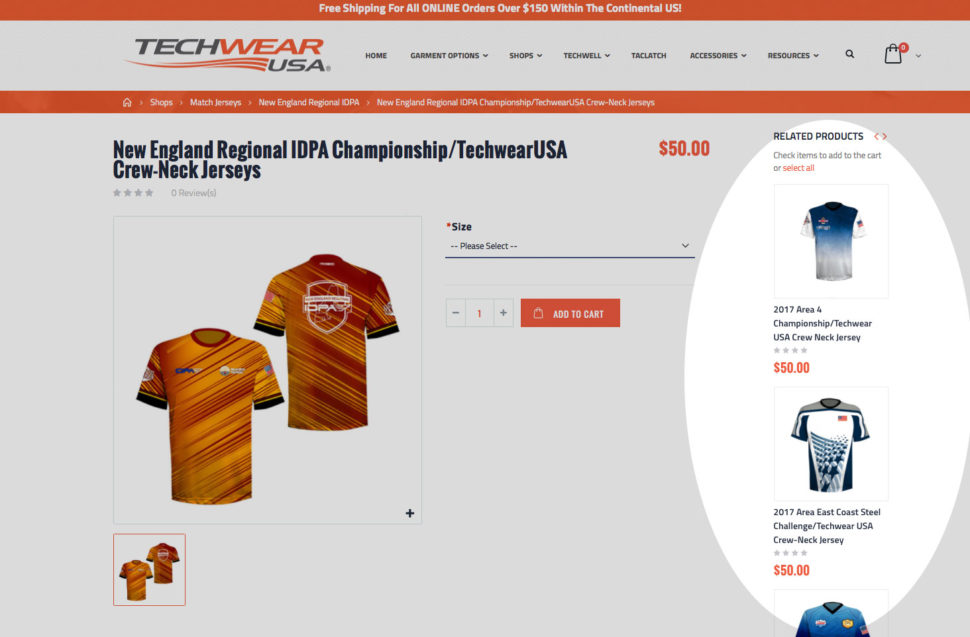 TechWearUSA eCommerce Store with Related Products in Sidebar