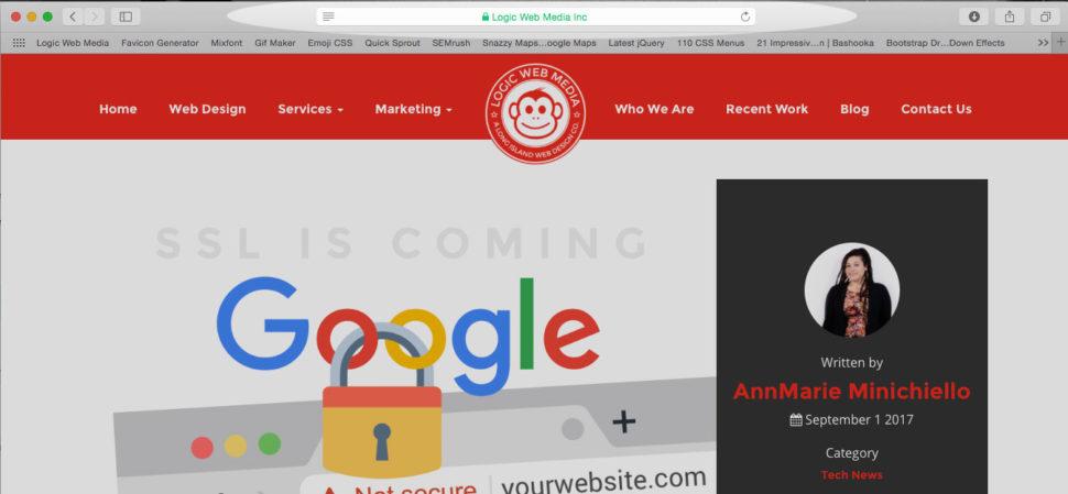 Safari window screenshot of Logic Web Media site with SSL Certificate