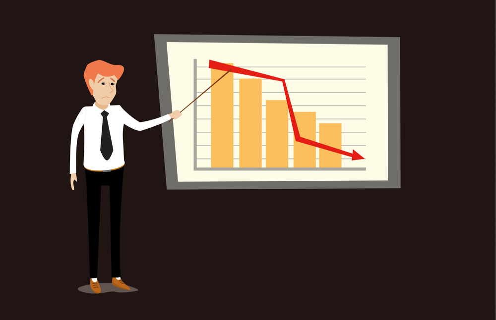 Flat graphic image of man pointing to presentation of downward chart