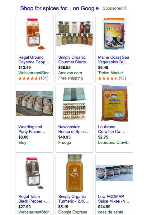 Screenshot of Google Shopping results
