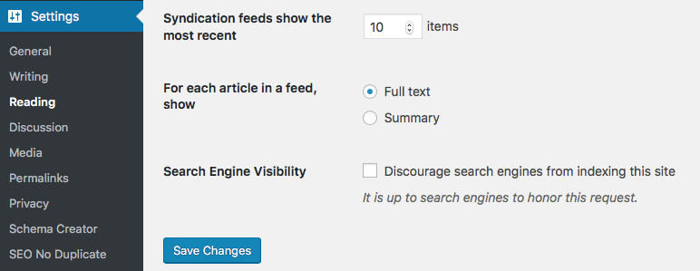 Screen shot of setting to discourage search engines from indexing