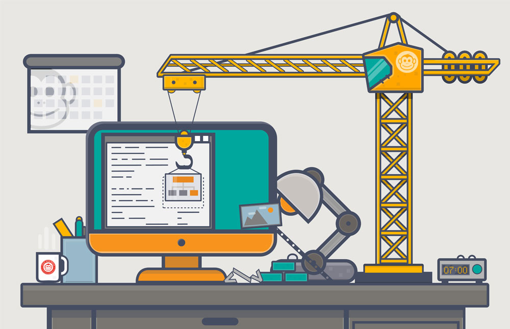 Line style abstract concept. Website building with construction crane on desk full of design items.
